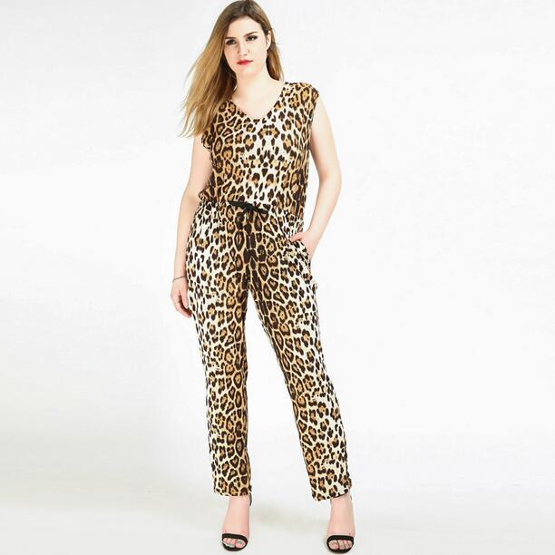 a2a9ef57e80e Leopard Jumpsuit Plus Size Women 6XL Big Large Summer Rompers Jumpsuits  Long 5XL Lady Overalls V neck Sleeveless 4XL 3XL WF850-in Jumpsuits from  Women s ...