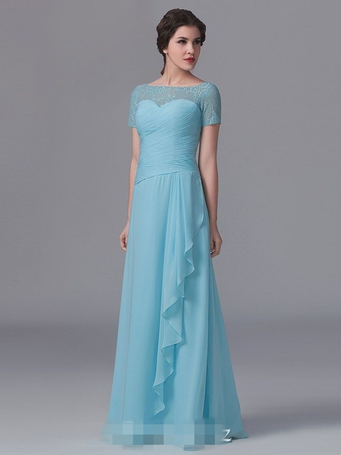 2017 Light Blue Lace Top Chiffon Long Bridesmaid Dresses With Short Sleeves  Pleats Ruffles Floor A ad7dfee295f7