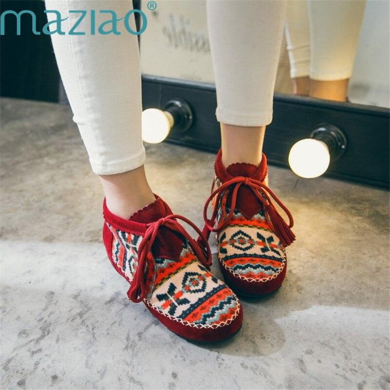 Женские зимние ботинки в этническом стиле, замшевые зимние ботильоны, теплые меховые полусапожки высокого качества, удобная обувь для отды...