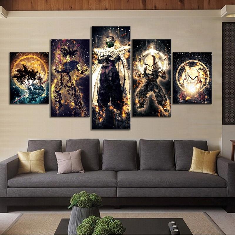 5 Piece Dragon Ball Z Anime Poster Paintings Kulilin Piccolo Goku Poster Abstract Art Wall Painting for Home Decor Wall Art 3