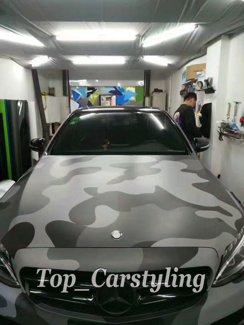 цены Black Gray Camouflage Vinyl Car wrap film Camo Car Sticker Motorcycle Bike Vehicle Wraps Covering Bubble Free 1.52x30m /roll