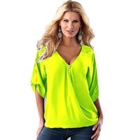 Women Short Sleeve Neon Green Loose Deep V Neck Chiffon Blouse Shirts Shirt For Women Summer