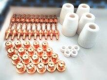 PT31 LG40 Plasma Cutting Cutter Torch Consumables KIT Electrodes TIPS Nozzles Fit CT312 CUT40 CUT50,50pcs pt31 lg40 air plasma cutter cutting accessories consumables kit plasma nozzles tips fit cut40 50d ct312 120pk