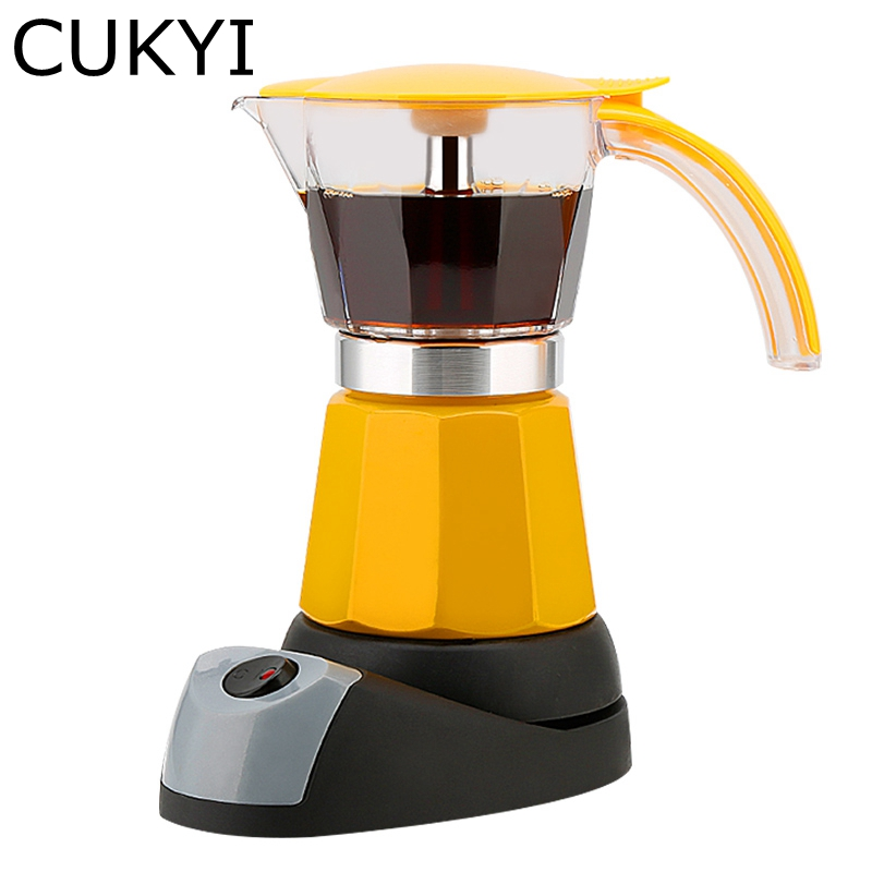CUKYI Electrical Espresso Moka Pot Coffee Percolators Italian Mocha Coffee Maker 220V Stovetop Tool Filter Percolator Cafetiere