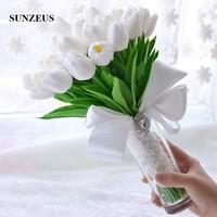 Tulip Flowers Elegant Wedding Bouquet Satin Ribbons Crystals Wedding Accessories 2019 Simple Bouquet buque para noiva SWB16