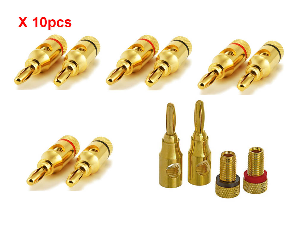 10pcs/5 pairs High-Quality Gold Plated Musical Amplifier Speaker Cable Wire Pin Banana Plug Connector w/ Color Coded, Open Screw areyourshop sale 2 pcs lot 4 pin speakon plug male speaker audio cable connectors high quality minijack plug wire connector