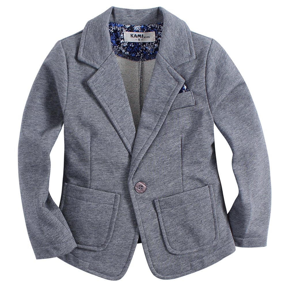 new arrival knitted cotton 100% toddler BOY blazer BB161103C solid grey split sleeve solid blazer