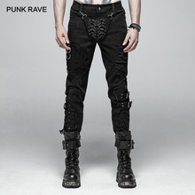PUNK RAVE Mens Punk Pants Personality Vintage Cotton Twill Long Steampunk Hip Hop Streetwear Decadent Denim