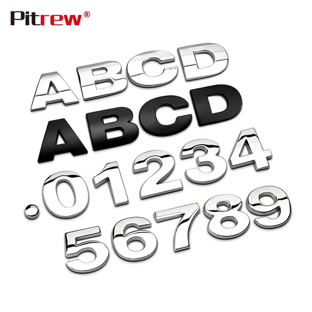 25 Mm 3D Mobil Styling Logam Perak/Hitam DIY Arc Huruf Chrome Digital Alphabet Emblem Decal Stiker Mobil Kustom logo Mobil