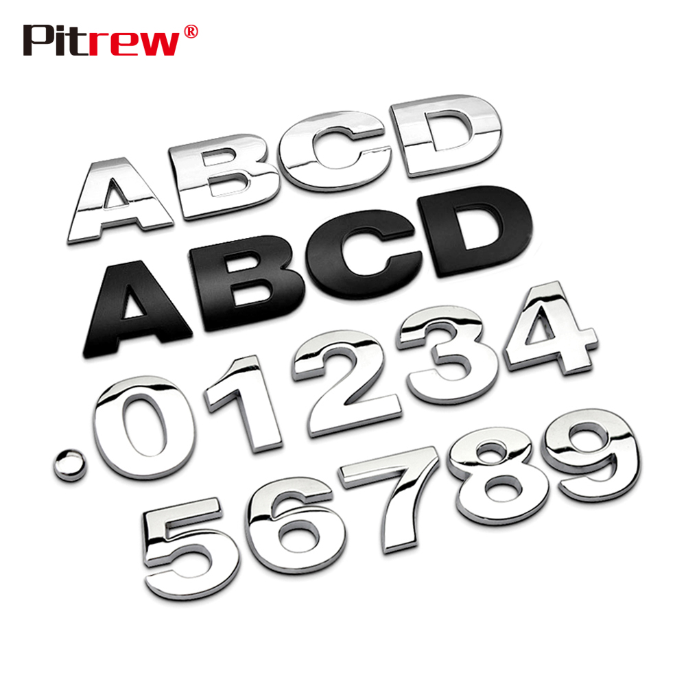 25mm 3D Car Styling Metal Silver/Black DIY ARC Letters Chrome Digital Alphabet Emblem Decal Car Stickers Custom Logo Automobiles
