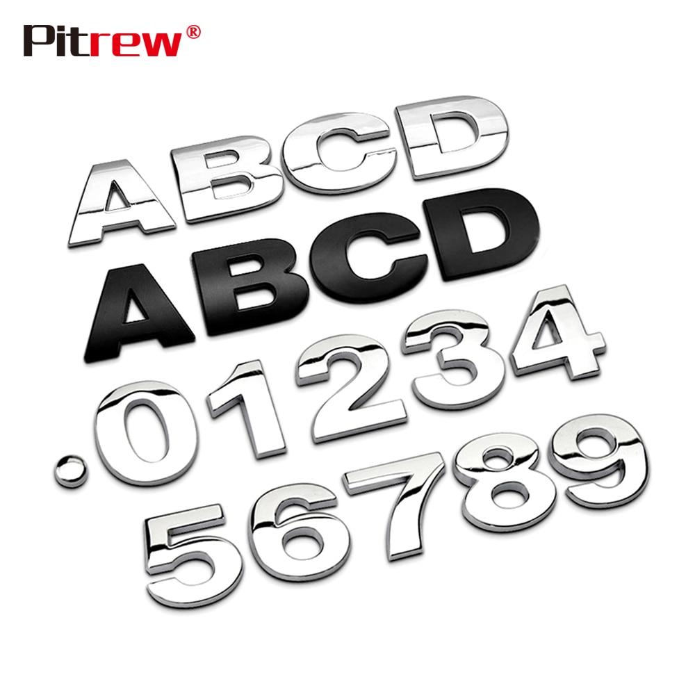25mm 3D Car Styling Metal Silver/Black DIY ARC Letters Chrome Digital Alphabet Emblem Decal Car Stickers Custom Logo Automobiles