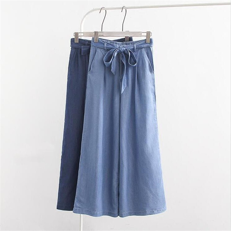 Korean Style 2020 Summer Thin Waist Loose Jeans Women Mid Waist Wide Leg Denim Pants Female With Sashes Casual Boyfriend Jean
