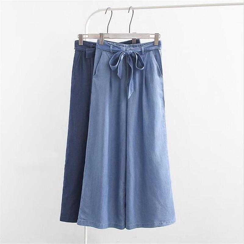 Korean Style 2020 Summer Thin Waist Loose Jeans Women Mid Waist Wide Leg Denim Pants Female With Sashes Casual Boyfriend Jean