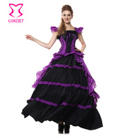 Gothic Purple Black Cotton Ruffle Ball Gown Cosplay Victorian Queen Costume Fancy Long Dress Halloween Sexy