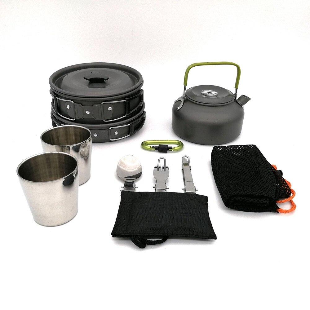 Image 4 - 9 шт. портативная посуда для кемпинга, походный чайник для пикника, набор для приготовления пищи, Туристическая посуда, походный набор для приготовления пищи-in Столовые приборы для пикника from Спорт и развлечения