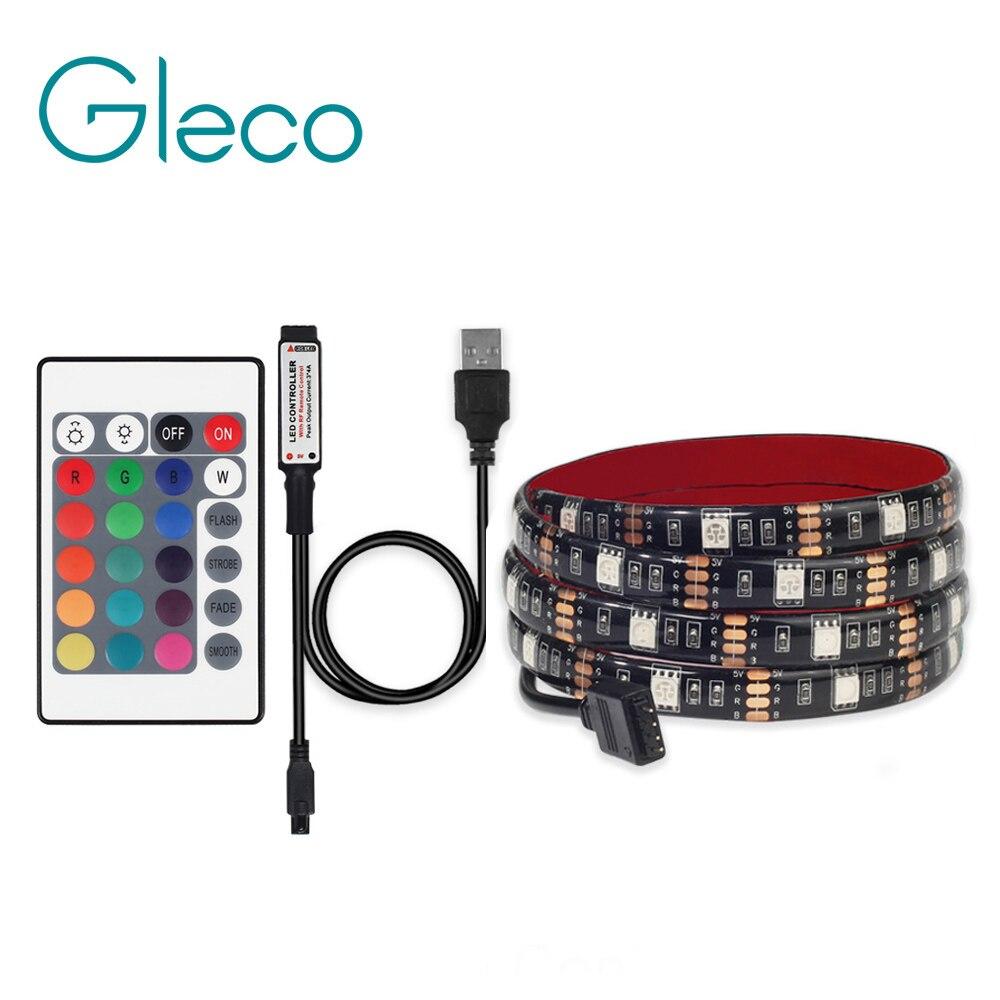 5V USB LED Strip 5050 RGB with 24Key IR Remote controller TV Background Lighting RGB LED strip Light 1M 2M