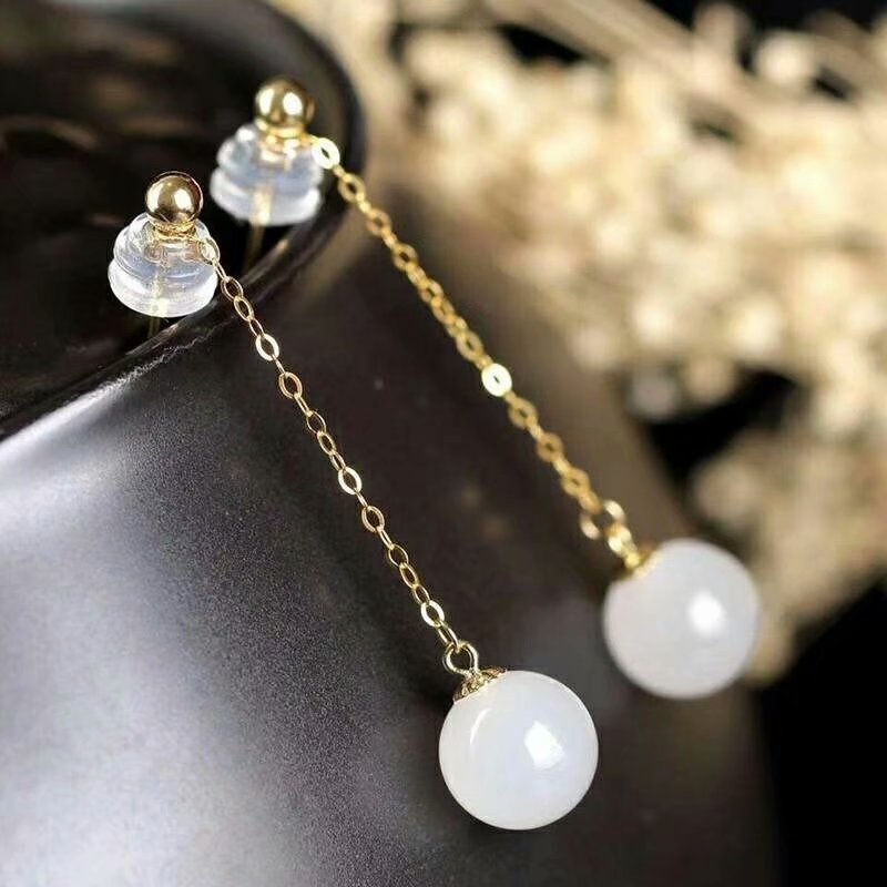 SHILOVEM 18k yellow gold real Natural white Jasper drop earring classic fine Jewelry women wedding gift 10 10mm yze101022hby in Earrings from Jewelry Accessories