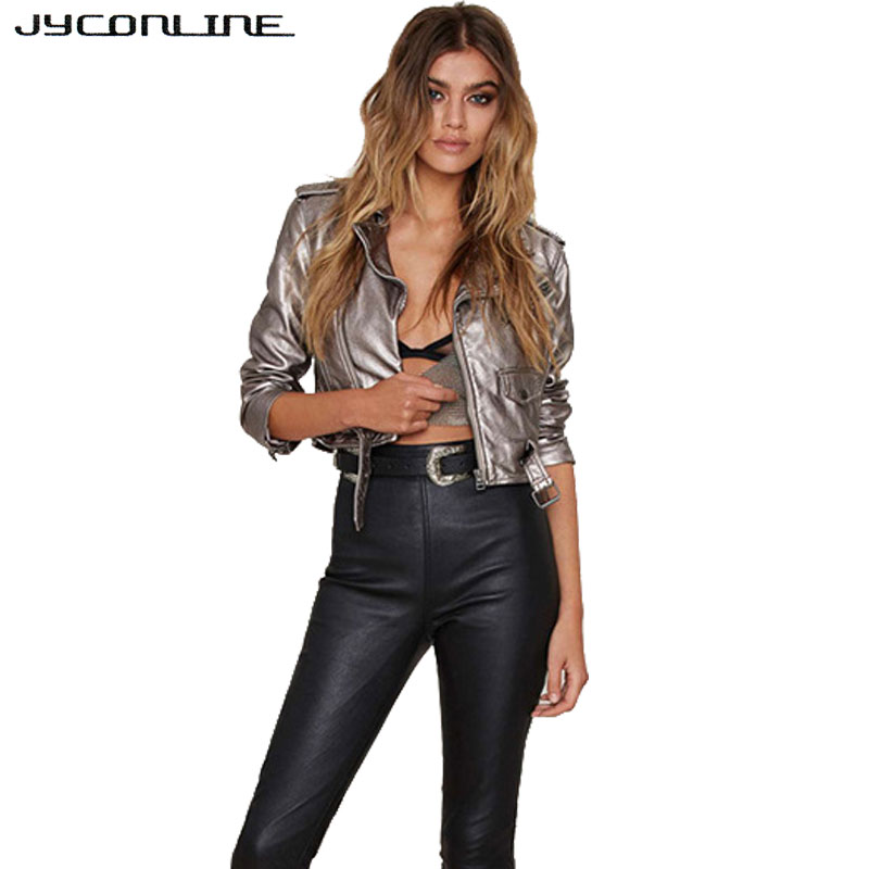 JYConline Motorcycle PU Leather   Jacket   Women Winter And Autumn Zipper Outerwear   Basic     Jacket   Short Slim Women Coat Good Quality