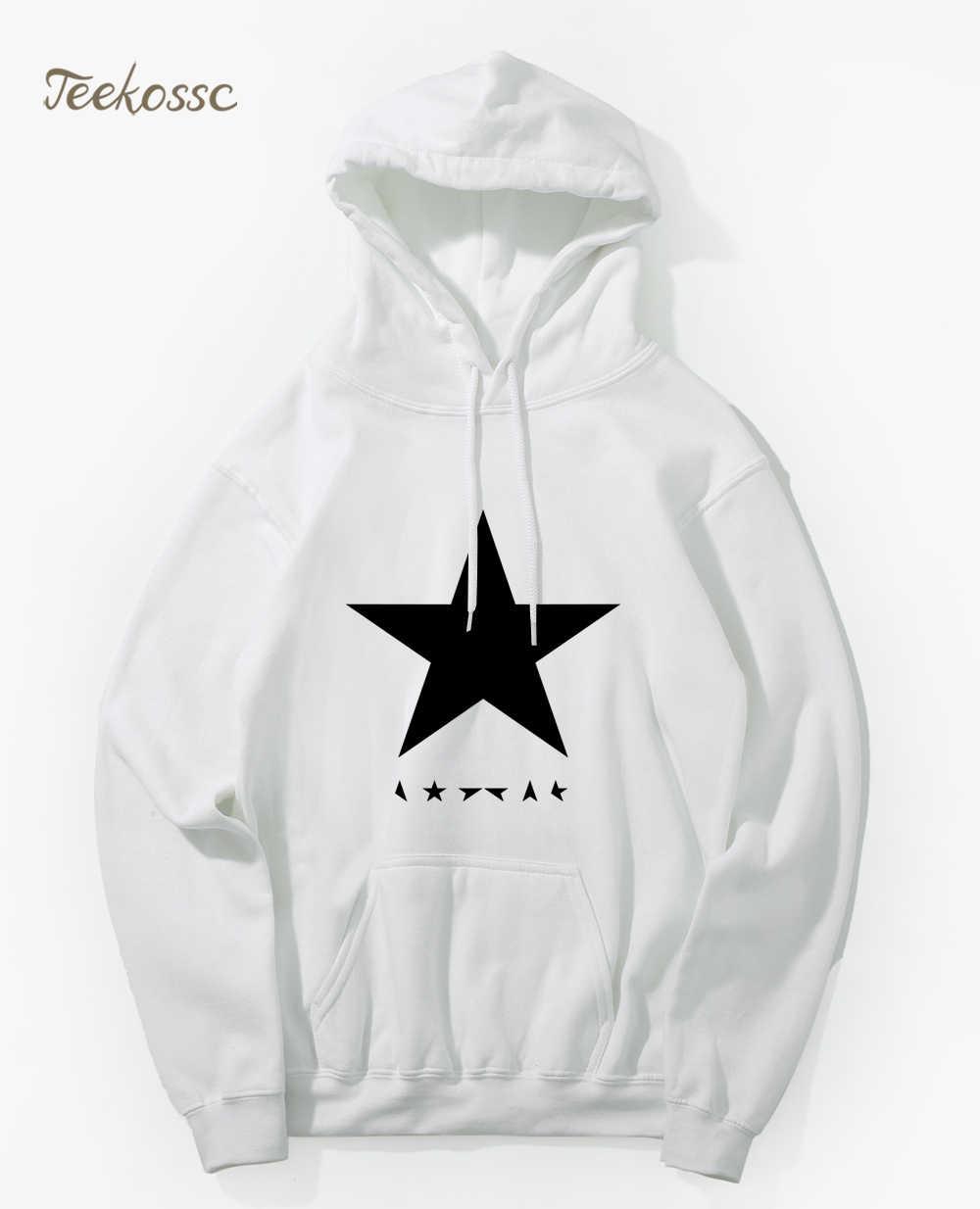 ديفيد باوي ، ملصقات ابطال النجوم السوداء ، سترات مع قلنسوة للرجال 2018 خريف وشتاء جديد ، بقلنسوة ، ونجمة بيضاء مطبوعة ، Hombre