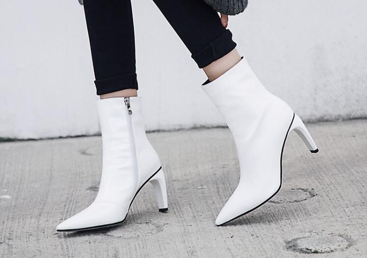 9a12e6d7d09 US $91.7 30% OFF|Spring Hot Brand Woman Black White Patent Leather 80 mm  Thin Heels Pointed Toe Strange Heels Zip Short Ankle Martin Boots 43-in  Ankle ...