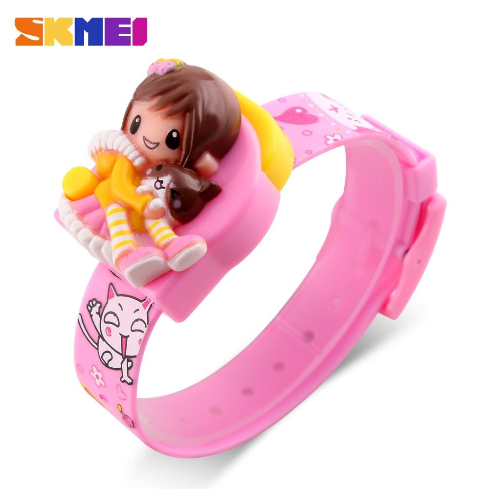 SKMEI Cute Children's Watches Fashion Casual Sport Cartoon Watch For Kids Girls Rubber Strap Children's Digital LED Wristwatches