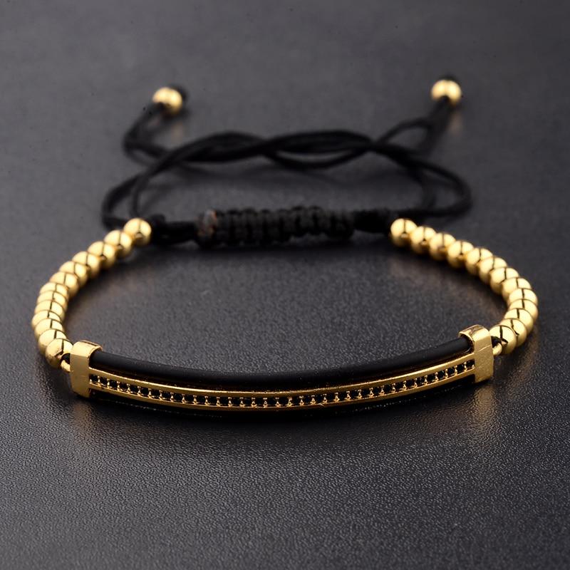 2019 Classic Luxury CZ Black Zircon Long Tubes&4MM Copper Beads Macrame Men Bracelets&Bangles For Women Jewelry Bileklik