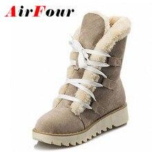 Airfourแฟชั่นอุ่นหนาขนลูกไม้ขึ้นในช่วงฤดูหนาวรองเท้าผู้หญิงแพลตฟอร์มเท้ารอบS Kidproofแต่เพียงผู้เดียวข้อเท้าหญิงหิมะรองเท้า