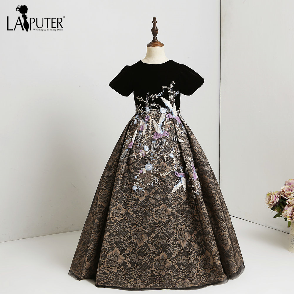 e8ccac7751 US $155.0 |LAIPUTER 2018 Arabic Flower Girl Dress A line Short Sleeves 3D  Flower Applique Pagent Girl Dress for Party -in Flower Girl Dresses from ...