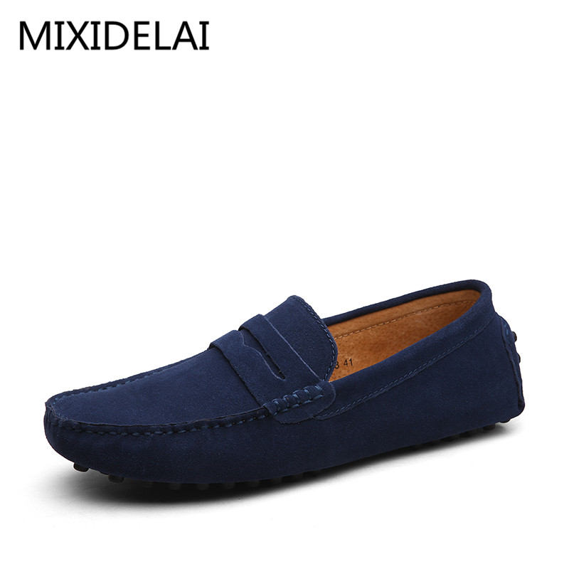 Men Casual Suede Leather Loafers Black Solid Leather Driving Moccasins Gommino Slip on Men Loafers Shoes Male Loafers Big Size dekabr new 2017 men cow suede loafers spring autumn genuine leather driving moccasins slip on men casual shoes big size 38 46