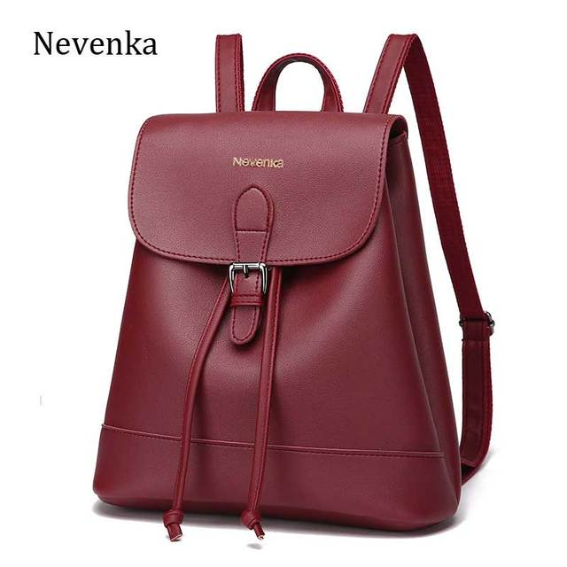 Nevenka Famous Brand Teenagers Girls Casual Backpack PU leather Backpacks Shoulder Large Capacity Woman Bag Drawstring Bag Sac