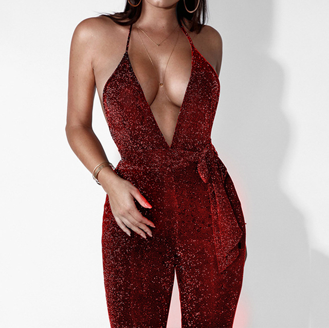 ff33c0baa42 Sexy Women Glitter Jumpsuit Long Sleeve Deep V-Neck Halter Backless Skinny  Nightclub Party Bodycon
