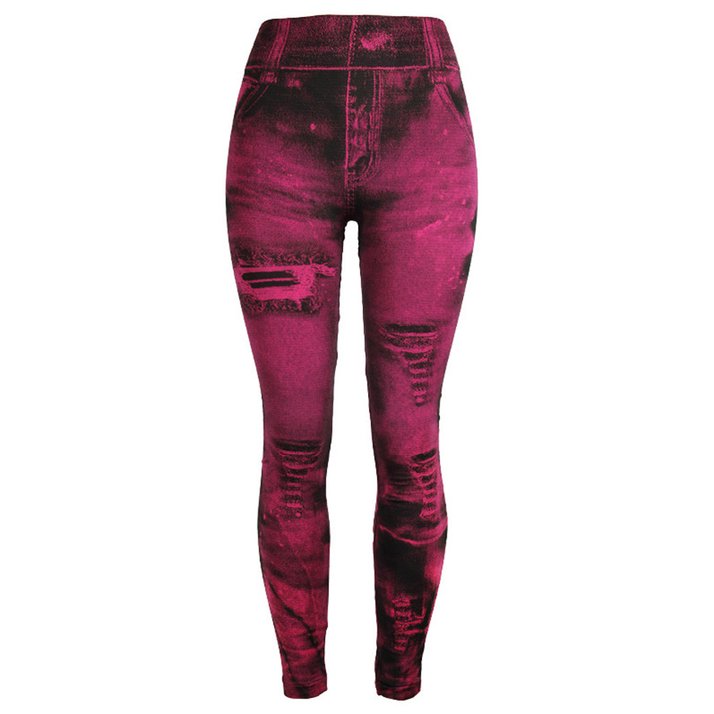 Unique style fashion beautiful and elegant Women   Jeans   Bottom Pants Coloured Super Bomb Slim Nine-minute Hot Pink Pant W30416