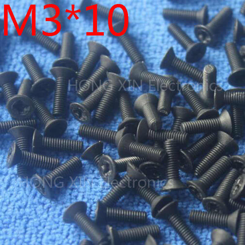 M3 * 10 hitam 1 pcs Nylon Phillips Countersunk Sekrup Kepala Datar 10mm Plastik Baut Pengencang Plastik merek Assortment new PC