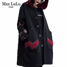 Max LuLu Luxury Korean Winter Girls Hooded Streetwear Womens Warm Trench Coat Black Long Windbreakers Casacos Woman Punk Clothes