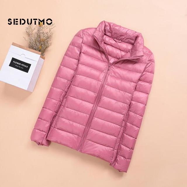 SEDUTMO Spring Womens Down Jackets Ultra Light Winter Duck Down Coat Short Hoodie Puffer Jacket Parkas ED659 2