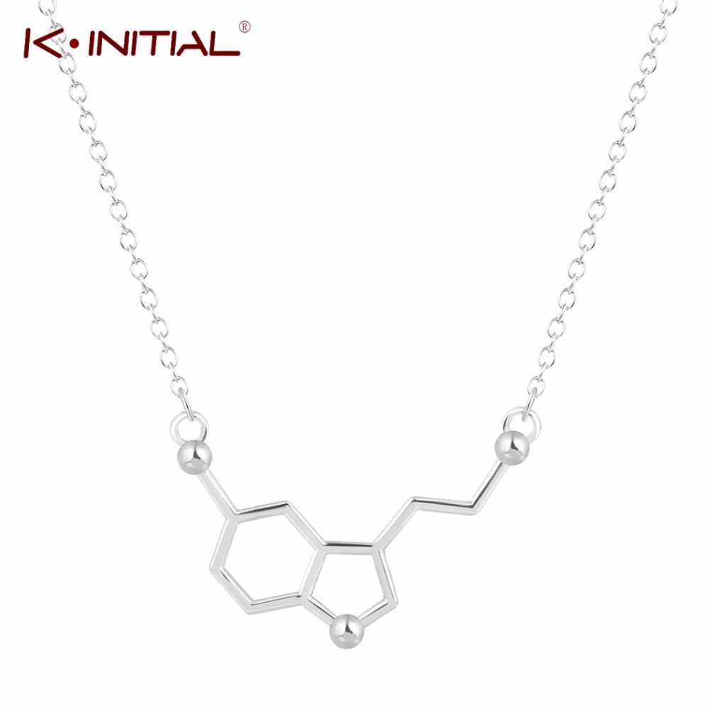 Kinitial Serotonin Molecule Chemistry Necklace Unique Pendant Necklace Minimalist Molecules 5-ht Jewelry Gift For Girls Ladies