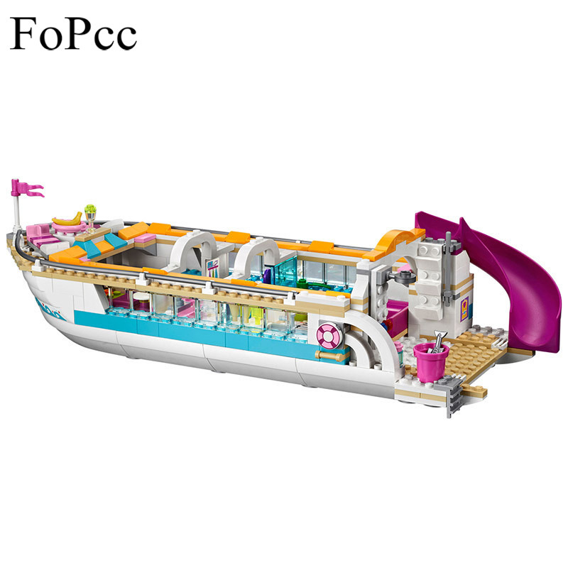 10172 Friends Series Girl Dolphin Cruiser Large Yacht Club Cruise Vessel Ship 41015 Building Blocks Bela Brick Legoings 618Pcs lis 10172 bela friends girl dolphin cruiser vessel ship building blocks big set compatible with gift bricks kid toy