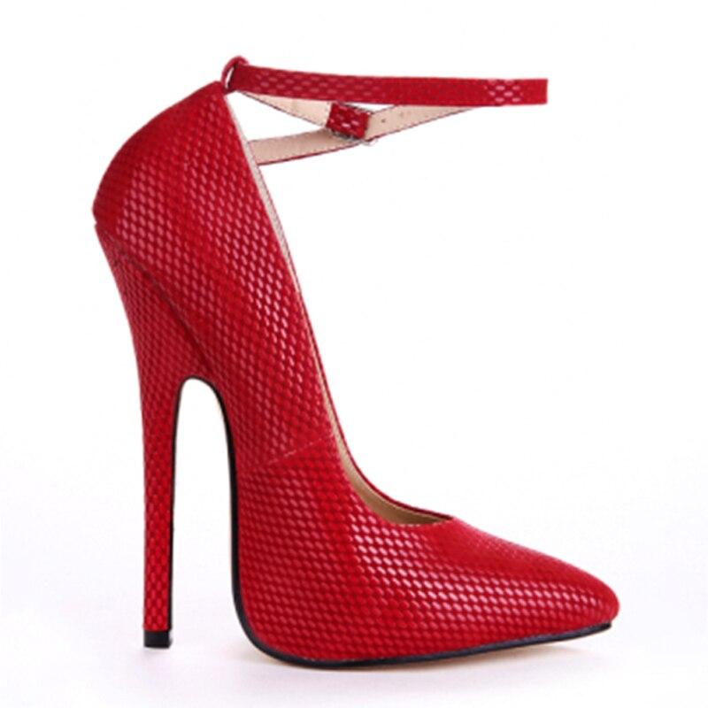 Summer Shoes Pumps Ankle-Strap Snakeskin 16cm Fenty High-Heels Beauty Sexy Big-Size Women