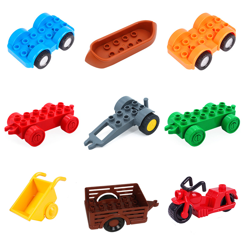 trailer Car motorcycle boat Big size Building Blocks collocation Vehicle accessory kid DIY Toys Compatible Duplo Bricks Set gift forest park plant tree leaf model big particles building blocks toys set bricks diy accessory child gift compatible with duplo