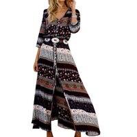 Lace Girl 2017 New Bohemian Printing Long Dress Spring Summer Women Maxi Dress Floral Print Retro