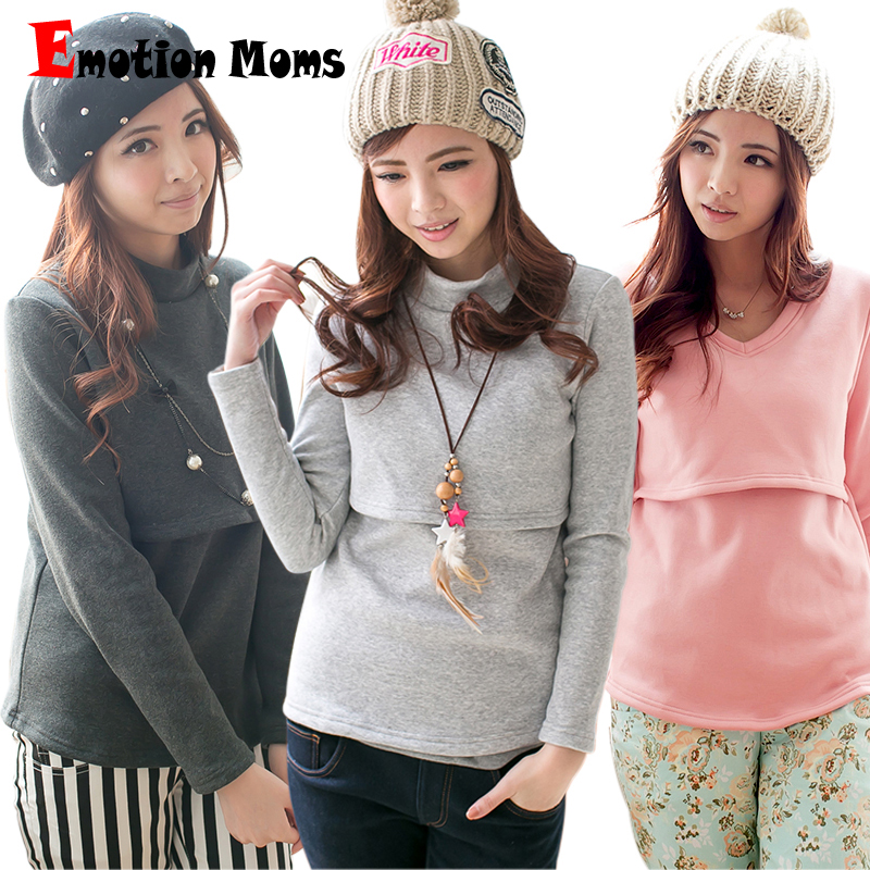 Emotion Moms Long Sleeve Maternity clothes Nursing Breastfeeding tops winter Nursing Tops for Pregnant Women Maternity sweater