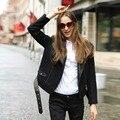 Veri Gude Faux Leather Collar Motorcycle Jacket  Women Woolen Coat Winter Jacket Women