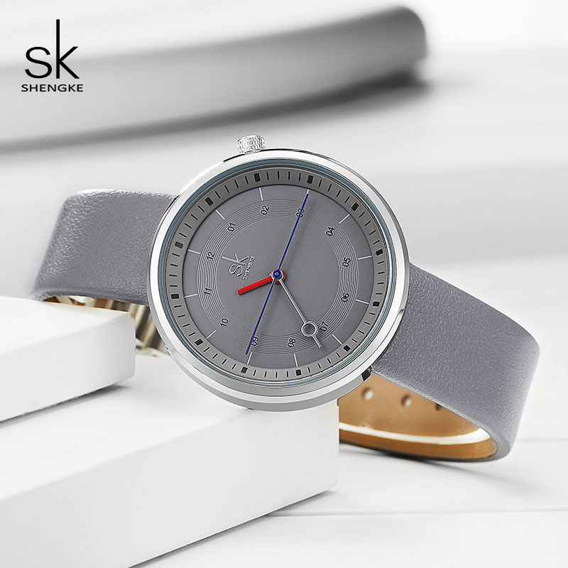 Shengke Brand Fashion Leather Watches Women Creative Quartz Watch Reloj Mujer 2019 SK Ladies Wrist Watch Women's Clock #K8044