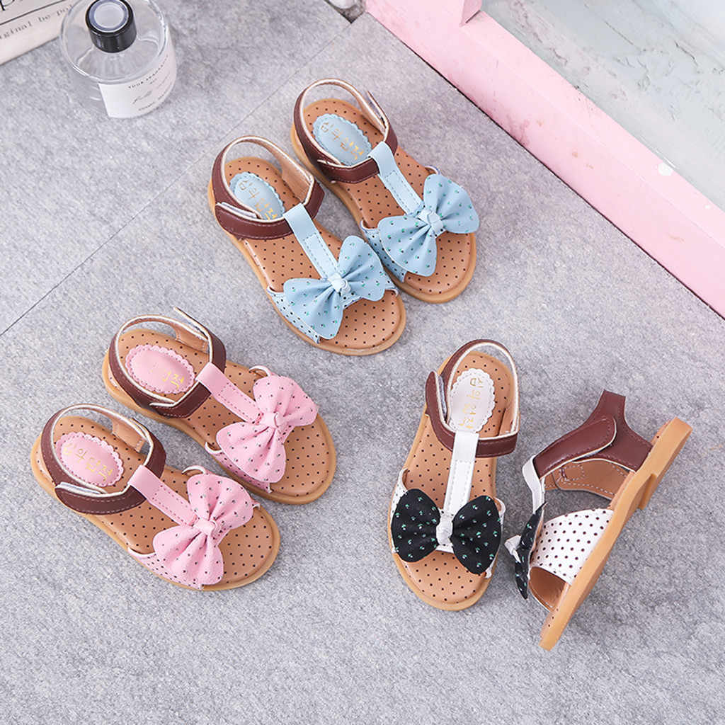 Children Shoes Baby Girls Beach Sandals Fashion Summer Shoe Butterfly-Knot Hook&Loop Shoes Toddler Single Sneakers For Princess