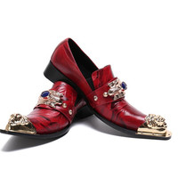 Vintage red cow leather solid iron pointed toe men Shoes blue Rhinestone stage wedding men Shoes