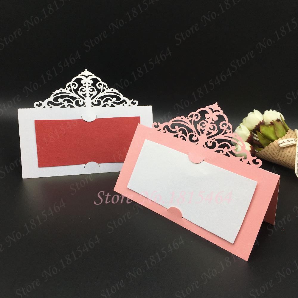 50pcs Laser Cut Lace Crown Place Name Seat Card Wedding Invitation ...