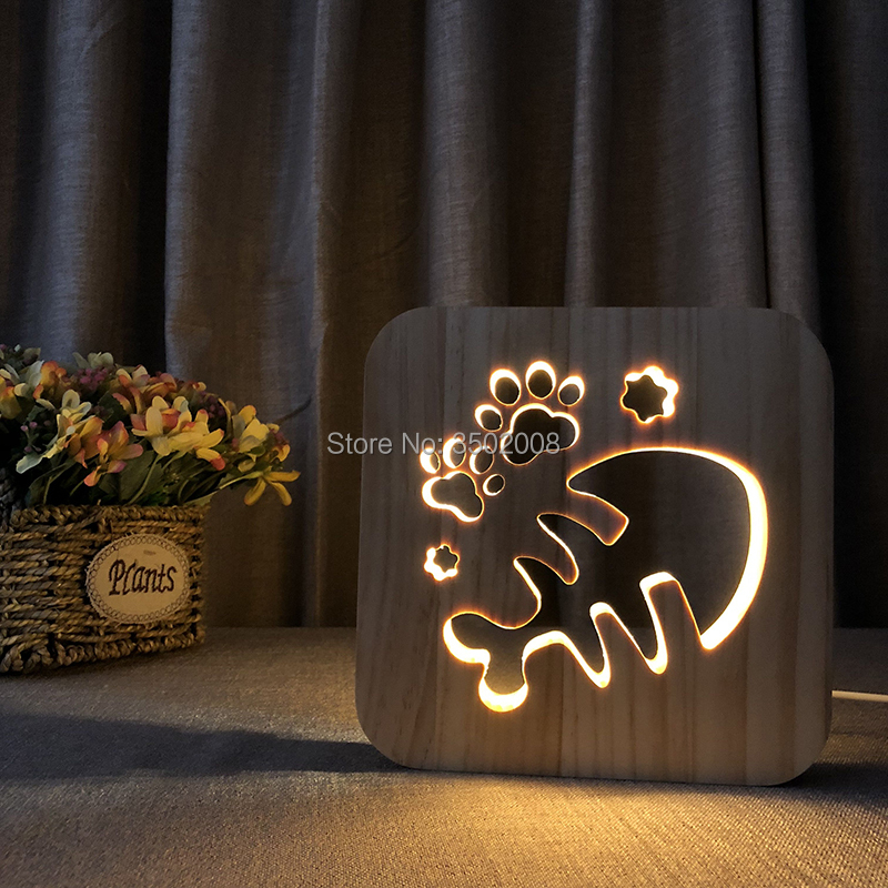 Wooden Fish bone shapes hollow design night lamp warm light USB power LED lamp as creative gift or home hotel club decoration mipow btl300 creative led light bluetooth aromatherapy flameless candle voice control lamp holiday party decoration gift