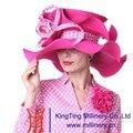 Kueeni Женщин Шляпы Большой Широкими Полями Церковь Hat Красная Роза цвет Элегантная Дама Шляпы Церковь Партии Повелительницы Свадебное Платье Fedoras