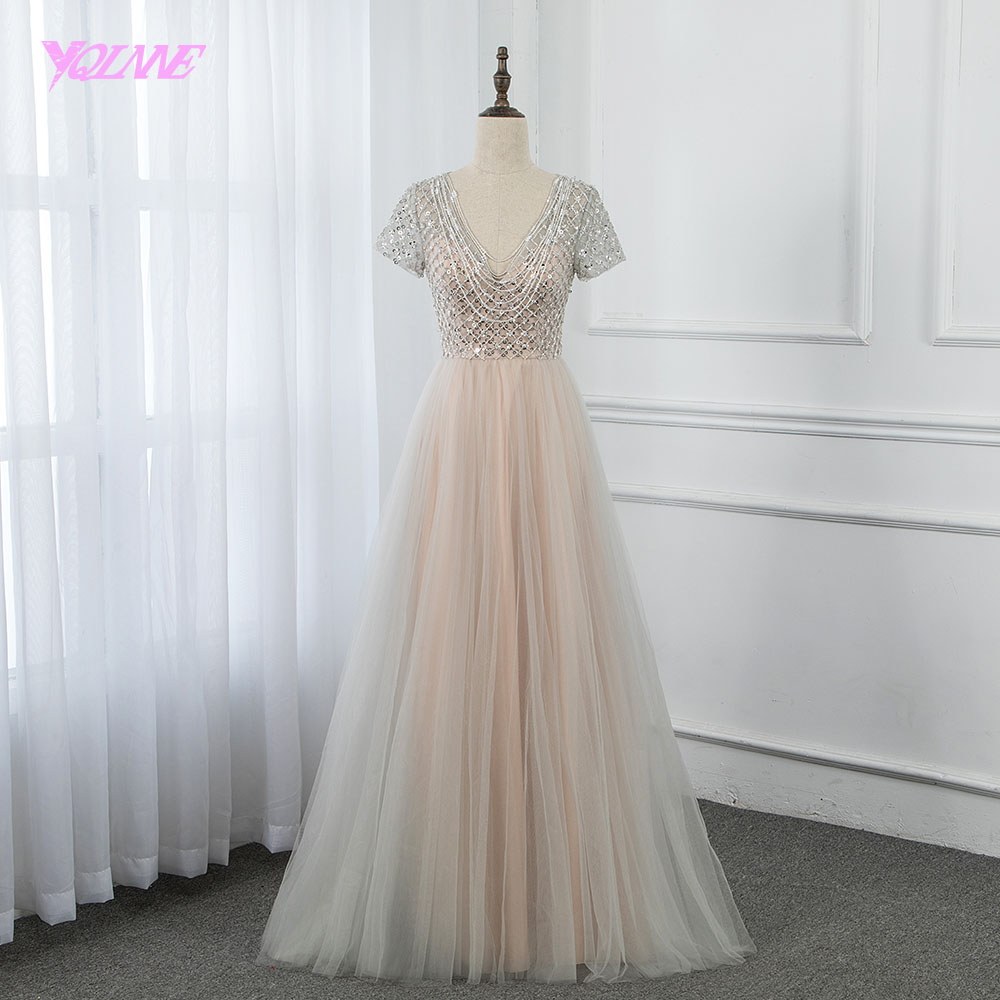 Cheap Nude Long Prom Dresses 2019 Sleeves Beading Zipper Back Formal Gown Elegant YQLNNE