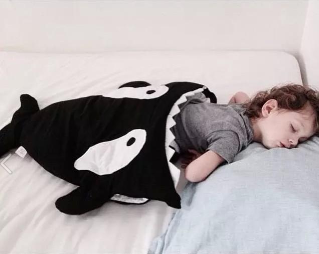 Promoção! tubarão dos desenhos animados saco de dormir saco De Carrinho de Criança Swaddle Envoltório bonito Jogo de Cama de Inverno Recém-nascidos
